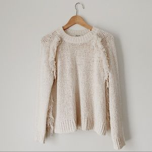Madewell Cream Fringe Sweater